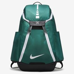 Nike Hoops Elite Max Air Team Graphic Basketball Backpack - One Size Vintage Green/Black/White Green Backpacks, School Backpacks, Nike Elite Backpack, Nike Bags, Team 2, Nike Basketball, White Nikes, Purses And Bags, Nike Shoes