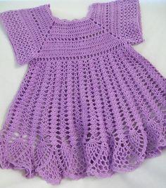 Crochet Baby Dress Baby Girl Dress Lavender por americanmadecrochet