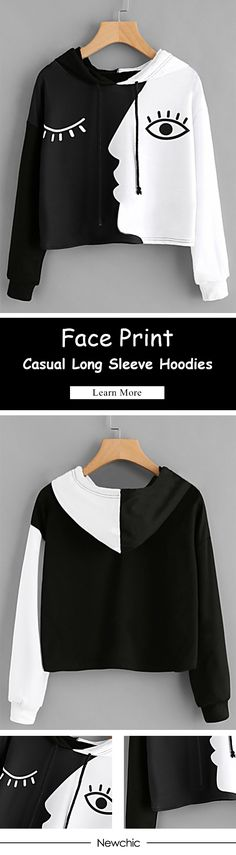 [Newchic Online Shopping] 46%OFF Casual Face Print Hoodies for Women #hoodie #womenswear #womensfashion #tops