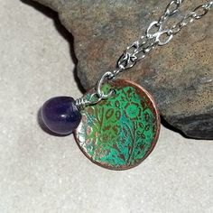 Goddess Diana Necklace Ancient Patina Amethyst $67