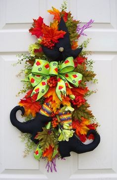 Fall witch swag wreath - eclectic - holiday decorations - kansas city - by Timeless Floral Creations