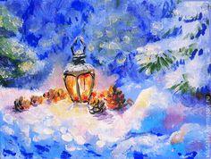 """мини - картина """"Волшебный фонарь в рождественскую ночь"""" - зимний пейзаж маслом"""