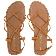 Billabong Women's Crossing Over Sandal ($14) ❤ liked on Polyvore featuring shoes, sandals, accessories, desert brown, billabong, billabong shoes, flat shoes, beach footwear y flat soled shoes