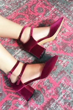 Red velvet block heel pumps with double straps | Sole Society Selby