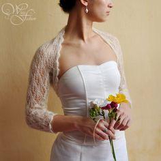 WEDDING BOLERO bridal shrug color natureal white lace pattern leaf size S, L or XL. $80.00, via Etsy.