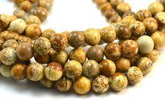 picture jasper beads -jasper gemstone beads - round beads wholesale - jasper loose beads for jewellery making - size 4-16mm - 15 inch