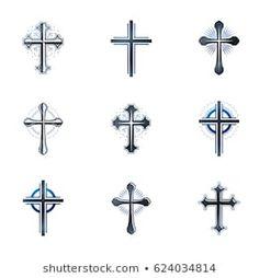 Crosses of Christianity emblems set. Cross Tattoo Designs, Vector Design, Design Elements, Retro Fashion, Christianity, Royalty Free Stock Photos, Illustration, Retro Style, Label