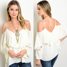 Ivory Cold Shoulder Ruffled Long Sleeve Top New with tags. Long sleeved top featuring an open shoulders design and tiered ruffles. Also available in black listed separately. Available in size S, M, and L.                                                               100% polyester.                                                            Made in USA.                                                                  PRICE IS FIRM UNLESS BUNDLED.                         ❌SORRY, NO TRADES…