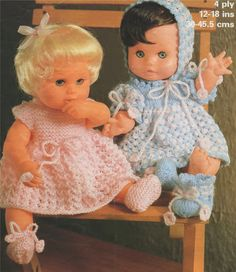 Dolls Clothes PDF Knitting Pattern : 12 , 14 , 16 and 18 inch Dolly . Baby Born . Tiny Tears . Baby Annabell . Instant Digital Download by PDFKnittingCrochet on Etsy