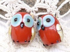 Opaque Red Lampwork Glass Owl Beads 2 by BellasBeadHabit on Etsy, $5.50