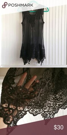 Lace and mesh slip dress Soft black micro-mesh with lace appliques on the collar and hem. Mini dress length. Very sheer, beautiful piece for layering... or not ;) Dresses Mini