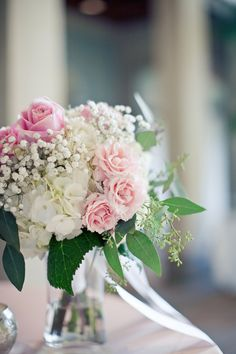 Rose-Hydrangea-Centerpiece. We can also substitute pink peonies instead of roses