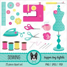 Sewing Clipart Pack - Commercial Use, Vector Images, Digital Clipart, Digital images by DapperDogDigitals on Etsy https://www.etsy.com/uk/listing/253070073/sewing-clipart-pack-commercial-use