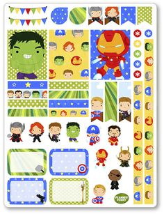 Heroes Avenging Decorating Kit / Weekly Spread Planner Stickers for Erin Condren Planner, Filofax, Plum Paper