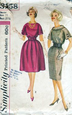 50s Simplicity dress sewing pattern 3158, bust 31.5 inches, rounded neckline, roll collar