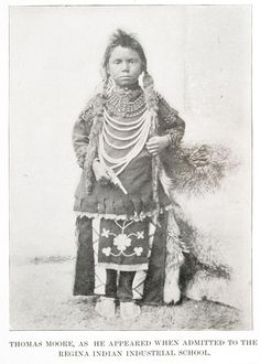 Type of Source: photograph; Date of origin: This is a picture of an aboriginal child, called Thomas Moore, who was taken away from his family and admitted to the Regina Indian Industrial School, in order to be civilized into a Canadian. Social Studies Communities, Teaching Social Studies, Indian Residential Schools, Residential Schools Canada, Indigenous People Of Canada, Where Are The Children, Aboriginal Children, Indigenous Education, Canadian History