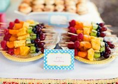 """You Are My Sunshine Birthday Brunch. This is such a fun idea, but since I already have too many ideas for C's Birthday Party, it may just have to be a """"You Are My Sunshine Un-Birthday Brunch"""" Birthday Party Menu, Sunshine Birthday Parties, Birthday Ideas, Birthday Snacks, Fruit Birthday, Kids Party Menu, 2nd Birthday, First Birthday Brunch, Rainbow Fruit Kabobs"""