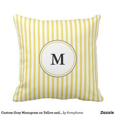 Custom Gray Monogram on Yellow and White Striped Throw Pillow - pillows home decor diy cyo pillow design Yellow Throw Pillows, Pillow Design, Monogram, Gray, Home Decor, Yellow Pillows, Yellow Cushions, Grey, Interior Design