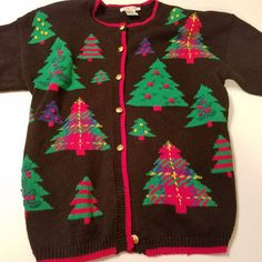 VTG Talbots Ugly Christmas Sweater Black Green Trees SIze XL Cardigan #Talbots #Cardigan #Christmas