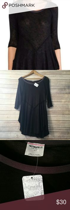 Free People Weekender Layering Top Intimately Free People This black top is lightweight and sheer with reversed seaming and uneven hem. Brand new with tags! Style 29490430 95% Rayon // 5% Spandex Free People Tops Tees - Long Sleeve