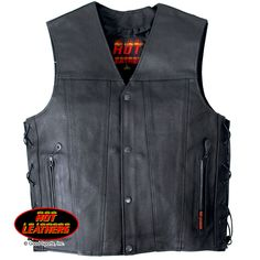 Leather Vest with 2 Conceal Carry Pockets and Lace Up Sides