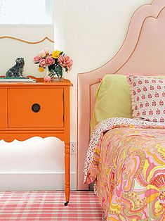 pink & orange girls bedroom.  Always loved this color combination.