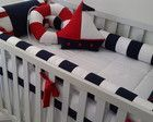 Kit berço marinheiro Nautical Bedroom, Baby Bedroom, Kids Bedroom, Sailor Room, Bed Bumpers, Cot Sheets, Baby Dress Patterns, Baby Crafts, Crib Bedding