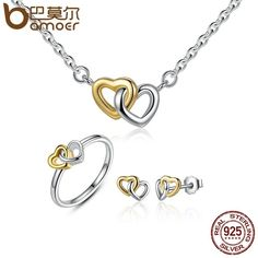 BAMOER Genuine 925 Sterling Silver Jewelry Set Heart to Heart Jewelry Sets