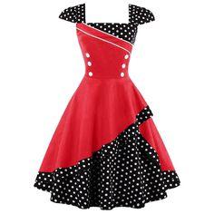 Damen Jahre Vintage Rockabilly Kleid Pin up Cocktailkleid Polka Dots Partykleid Knielang Vintage Red Dress, Vintage Corset, Retro Dress, Retro Vintage, Vintage Style, Red Polka Dot Dress, Dress Red, Polka Dots, Vintage Formal Dresses