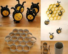 Beehive decor from toilet paper rolls