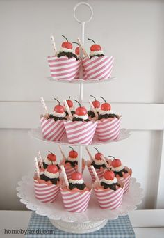 Ice Cream Sundae Cupcake Display