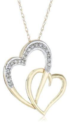 950dbc9ea 10k Yellow Gold Diamond Double Heart Pendant Necklace (1/10 cttw, I-J Color