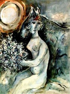 (Belarus) The Bouquet 1951 by Marc Chagall (1887- 1985). Belarusian later French.