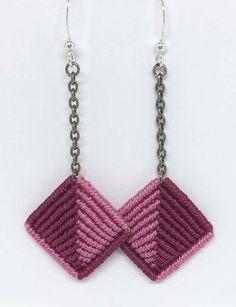 Macrame Bag, Macrame Knots, Micro Macrame, Macrame Jewelry, Macrame Bracelets, Loom Bracelets, Macrame Earrings Tutorial, Earring Tutorial, Diy Earrings