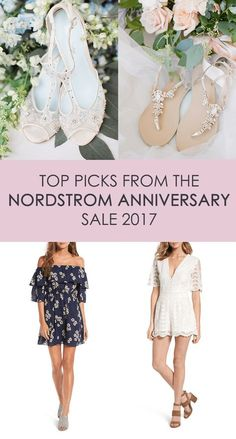 Our top picks from the Nordstrom Anniversary Sale 2017! Dresses from the likes of Ted Baker, Cece, Socialite and Lafayette in styles like the trendy off shoulder, A line, V necks, ruffles and florals, paired with our gorgeous Bella Belle wedding heels, jeweled wedding sandals and comfortable wedding sandals for a bachelorette outfit, bridesmaid dress, casual outdoor wedding and honeymoon destination. Photography top left: Natalie Bray, Kelli Durham #NSale #Nordstrom