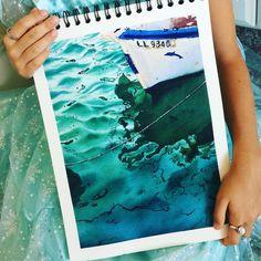 — Julia Barminova  WATERCOLOR (@juliabarminova) в Instagram: «Summer is full of turquoise  #jb_sea В этом августе (и снова на Кипре, как тогда!) пять лет с…» #aquarela #watercolor #underwater #submerge #art #paint #painting #draw #drawing #light #girls #wave #sea #boat #ship #blue #illustation #inspiration #вдохновение #рисунок #акварель #лодка #море