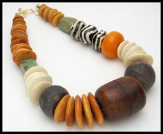 Ancient African Wood & Clay Spindle Whorls - Mixed African Beads 1 of a Kind Necklace by sandrawebsterjewelry on Etsy