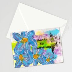 Thanks for Everything Blank Card with Envelope, Gratitude, Stationery, Boho Floral, Write a Th Pet Sympathy Cards, Thanks For Everything, Pet Loss, Mixed Media Artists, Blank Cards, White Envelopes, Colorful Flowers, I Card, Your Cards