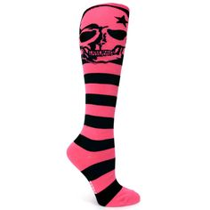 SKULL SOCKS | PINK STRIPED SKULL SOCKS | Roller Derby Clothing and Accessories ...
