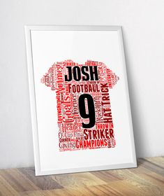 This Personalised Football Shirt Word Art Print makes a great gift for football teams, coaches, players, fans. Choose your team colours - Fast Delivery! Football Shirts, Football Team, Personalized Football, Personalised Prints, Word Art, Fans, Colours, Art Prints, Coaches