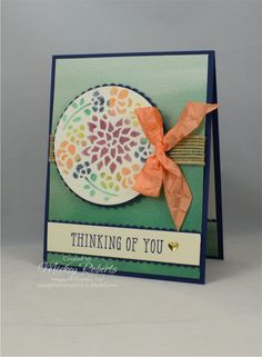 Blog Post Date:  August 28, 2017.  This project uses a thinlits die to create a mask.  Elements of this card include:  Window Shopping stamp set, Window Box Thinlits, Naturally Eclectic Designer Series Paper, Embossing Paste, Peekaboo Peach Crinkle Seam Binding ribbon, Burlap ribbon, Metallic Enamel Shapes, Big Shot, Decorative Ribbon Border punch, and the colors of Night of Navy, Peekaboo Peach, Lemon Lime Twist, Emerald Envy, and Fresh Fig.