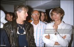 Hugues Aufray, André Courreges and Francoise Hardy at 1960's exhibition, 'Fondation Cartier,' Paris .