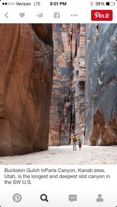Buckskin Gulch in Paria Canyon in Utah is the longest and deepest in the SW US