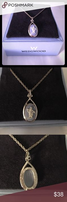 Wedgwood timeless vintage pendant necklace Timeless vintage Wedgwood white on blue rhodium pendant. 16mm oval r/p f/girl. Authentic made in England! Wedgwood Jewelry Necklaces