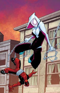 #Spider #Gwen #Fan #Art. (Spider-Gwen and Deadpool) By: JeremyColwell. (THE * 5 * STÅR * ÅWARD * OF: * AW YEAH, IT'S MAJOR ÅWESOMENESS!!!™)[THANK Ü 4 PINNING!!!<·><]<©>ÅÅÅ+(OB4E)