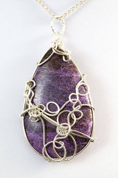 Sterling Silver pendant with Purpurite / wire wrapped /