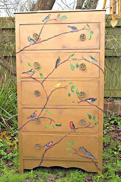 Painted Tallboy Dresser with Birds - Reader Featured Project - The Graphics Fairy Painted Chairs, Hand Painted Furniture, Refurbished Furniture, Repurposed Furniture, Furniture Makeover, Hand Painted Dressers, Dresser Makeovers, Reclaimed Furniture, Furniture Projects