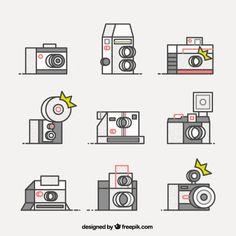 Retro camera icons Free Vector