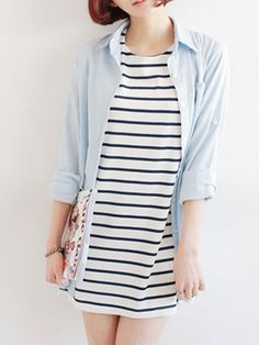 Black Stripes Long T-shirt | Choies