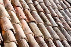 close up on roof tiles